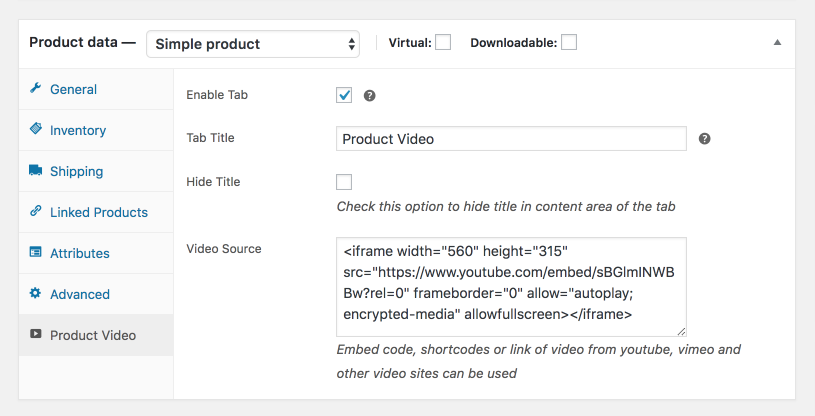 Video tab for WooCommerce