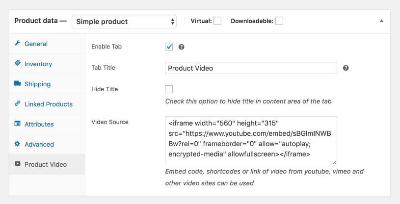 Video Tab For WooCommerce - WordPress Plugin