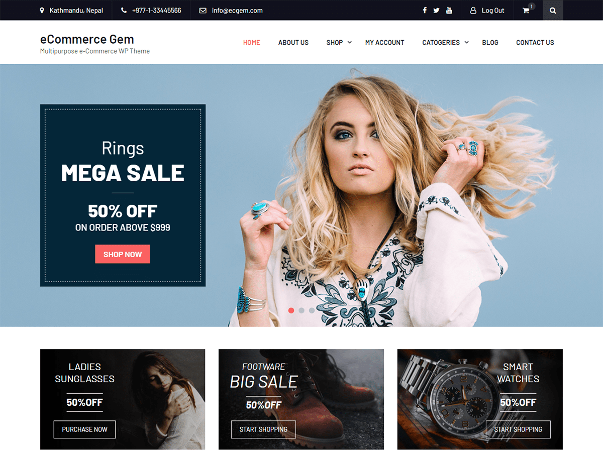 Best Free eCommerce Wordpress Themes, eCommerce Gem | ProDesigns