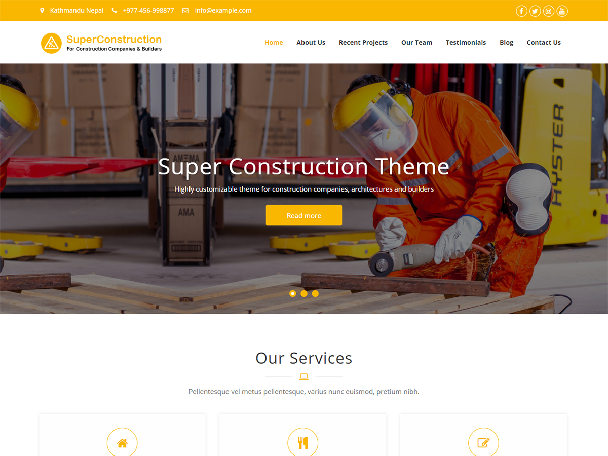 Super Construction Free Responsive Construction Wordpress Theme