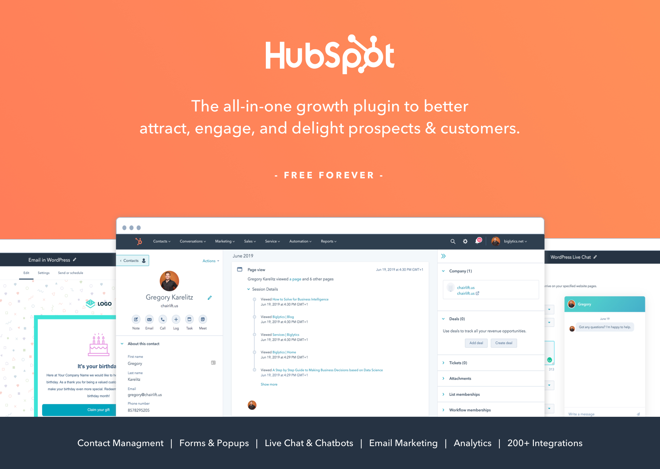 HubSpot All In One Marketing – Forms, Popups, Live Chat